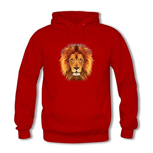 Men's Hoodies Sweater Digital Oil Painting Golden Lion Head printed Pullover Tops Blouse Red XXL (Camo Red Head)