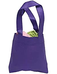 Reusable Mini Party Favor & Goodie Bags, Non-Woven Small Gift Totes, Purple, Set Of 50