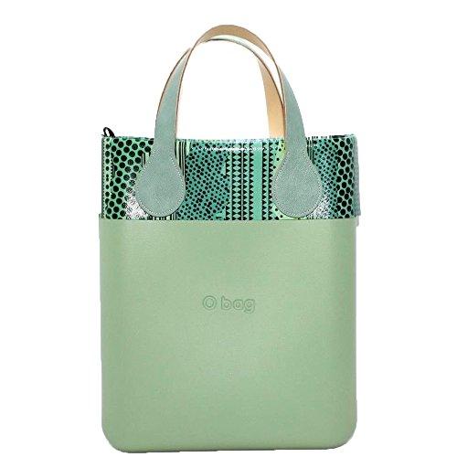 Borsa o bag o chic verde con sacca, manico corto piatto verde salvia e bordo con borsetta fantasia (k)