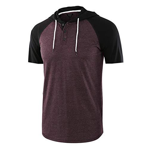 frgasgds Herren T-Shirt, Jacquard, gestrickt, lässig, leicht, kontrastierend, kurzärmelig - Rot - Klein - Chillin Lange Ärmel