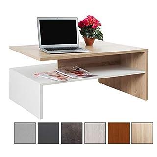 RICOO Couchtisch mit Stauraum WM080-W-ES TV Wohnzimmertisch Kaffeetisch Beistelltisch Wohnzimmer Couch Tisch Klein Viereckig Rechteckig Modern Design | Holz Hell Weiß & Eiche Sonoma