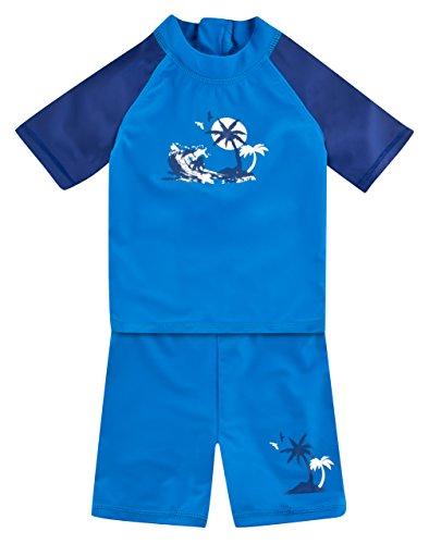 Landora®: Baby- / Kinder-Badebekleidung kurzärmliges UV-Schutz 2er Set in blau/marine, Größe - Kleinkinder-badebekleidung