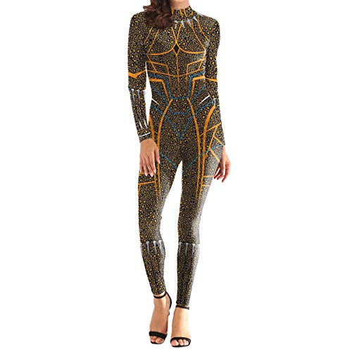 QQWE Frauen Black Panther Deluxe Edition Cosplay Kostüm Weihnachten Halloween Kostüm Kleidung Kinder Erwachsene Bodysuit Spandex Overalls,A-M (Panther Kostüm Frauen)