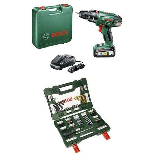 Bosch PSB 18 Li-2 - Taladro atornillador de percusión con batería de litio (45 W, 18 V) + Bosch V-Line Titanio - Pack con 91 piezas para taladrar y atornillar