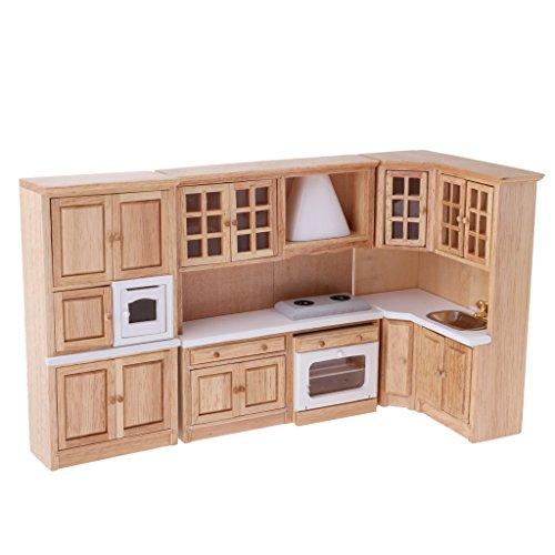 Homyl 1/12 Puppenhausmöbel Miniatur Schrank + Kochbank + Waschbecken für Puppenstube Küche Deko