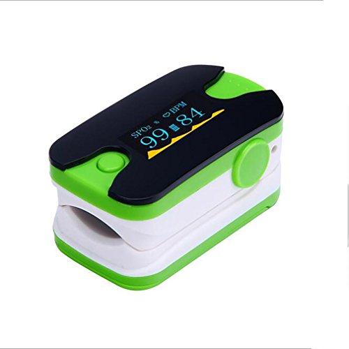 LL-Pulsossimetro a dito a dito con LED - Monitor Spo2 con frequenza cardiaca con allarme audio , green