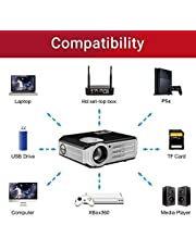 BOSS S11 Full HD 5700 Lumens (2019 Upgraded) Portable Projector 50000 Hours Lamp Support USB/HDMI/VGA/AV Input/Audio Input for Movies/Training/Office/Auditorium/Restaurant/School