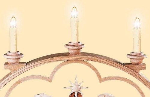 Candle Arch - Historias de Navidad - 65 cm / 26 pulgadas - 120 V electr. (US-standard) - Auténtico Erzgebirge Vela Arcos alemán - Müller Kleinkunst