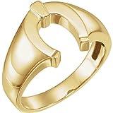JewelryWeb Herren-Ring 14 Karat Gelbgold Hufeisenring Größe V 1/2