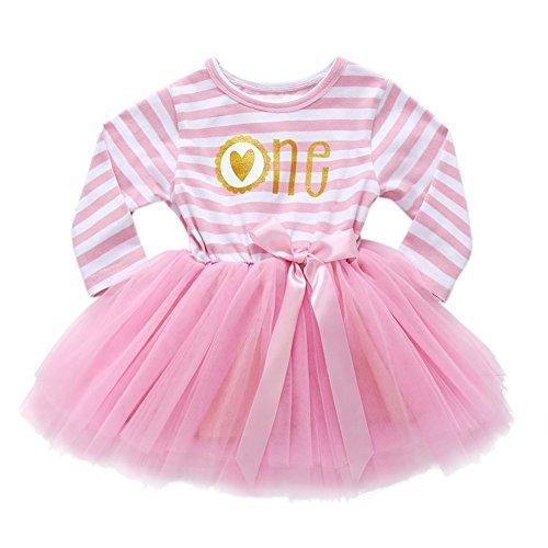 Wongfon Kleinkind Kinder Kleid Mädchen Striped Princess Kleider Shining Geburtstag Party Outfit Tutu Rock Langarm für 10 Monate-7 Jahre Baby (Langarm 3rd)