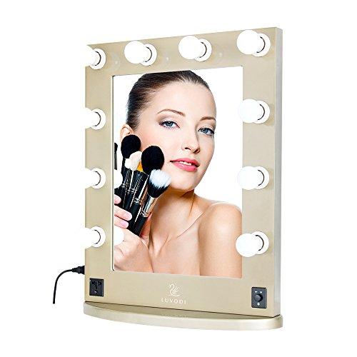 LUVODI Miroir de Courtoisie Hollywood Miroir Maquillage Lumineux Réglable avec 10 LED Ampoules Interrupteur Miroir Mural Eclairé Cadre en Bois et Base Amovible pour Coiffeuse Make up 50 x 66cm Or