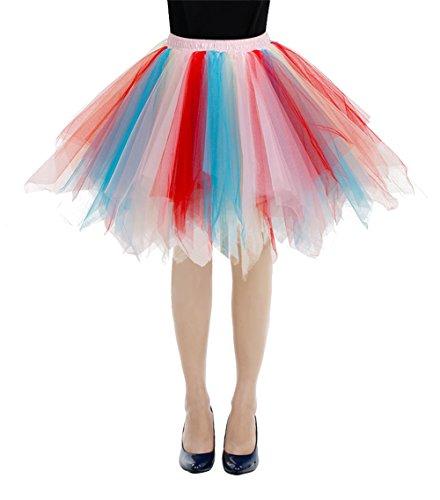 Bbonlinedress Faldas Con Vuelo Tul Mujer Enaguas Cortas Mini Ballet Danza Fiesta Blue-champagne-red S