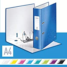 Leitz Lever Arch File, Metallic blue, A4, 80 mm spine width, WOW Range, 10050036, Design may vary