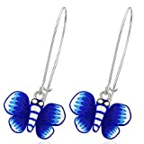 The Stainless Steel Jewellery Shop - Fashion Blue Butterfly Drop Earrings (pair) - Includes FREE Velvet Jewellery Gift Pouch