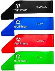 Bande de fitness »Achilles« de #DoYourFitness / Idéale pour les exercices de musculation flexibilité réeducation fitness pilates body workout et physiothérapie / Bande Loop-band en 4 résistances ou forces (vert 0,35mm (légère) / rouge 0,5mm (moyenne) / bleu 0,7mm (forte) / noir 1mm (intense) / haute qualité latex résistant solide doux pour la peau pliable légère s'utilise n'importe où / EXCELLENTE QUALITÉ.