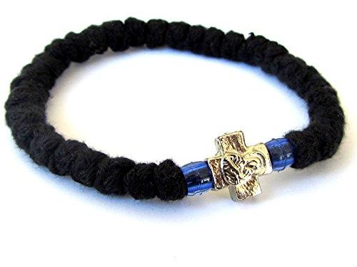 Handgefertigt Christian-orthodoxe griechisch chotki, komboskoini, Gebet Seil schwarz flexibel