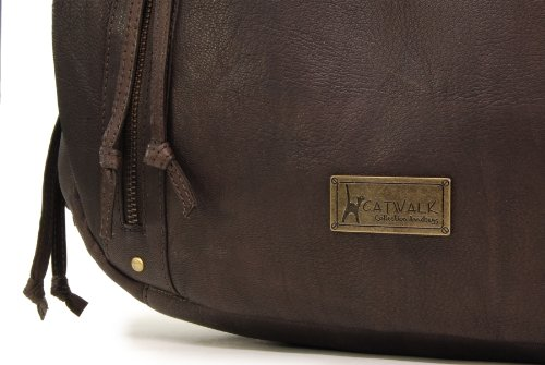 Borsa tote in pelle di Catwalk Collection Caz Marrone scuro