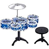 Happy GiftMart Jazz Drum Set With Chair - Music Toy Instrument For Kids - 10 Piece Multi Color