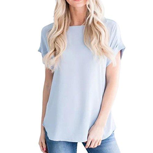 ESAILQ Damen Basic V-Ausschnitt Kurzarm T-Shirt Falten Tops mit Knopf(S,Blau)