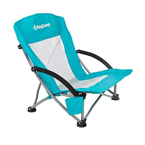 KingCamp Campingstuhl mit Niedrigen Stuhlbeinen und Atmungsaktiver Netzstoffrückenlehne (Cyan)