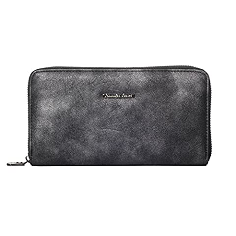 Damen Geldbörse Damen Portemonnaie Damen Geldbeutel Jennifer Jones - präsentiert von becoda24 (Metallic Black)