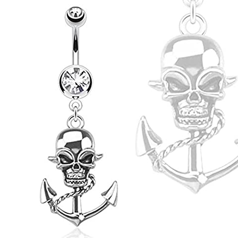 Paula & Fritz Belly Bar in 316L Stainless Steel with Pirate Skull Pendant on Cable NAL13504Cyan)