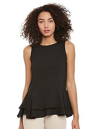 Femella Women's Black Ruffle Hem Top( DS-2578534-BLK-XXL)