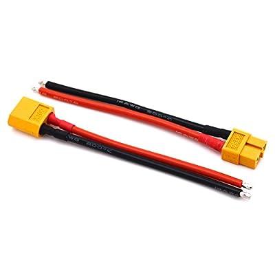 LHI 2PCS WRA0053 XT60 Male W / 14AWG Silicon Draht 10cm von Lighting Hobby