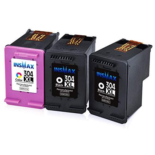 Insmax - Cartuchos de Tinta reciclados HP 304XL 304 de Alto Rendimiento, Color Negro, compatibles con HP DeskJet 3720 3730 3732 3735 2620 2630 HP Envy 5020 5030, Color 2B+1C High Yield