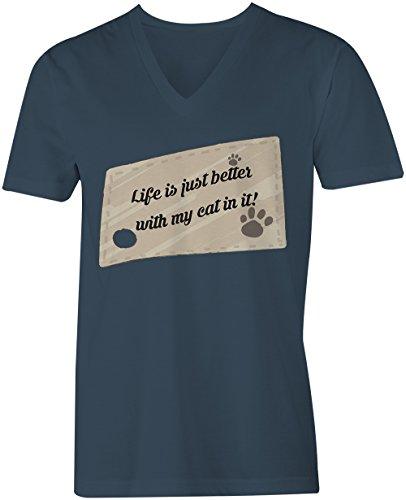 Life Is Just Better With My Cat In It ★ V-Neck T-Shirt Männer-Herren ★ hochwertig bedruckt mit lustigem Spruch ★ Die perfekte Geschenk-Idee (03) dunkelblau