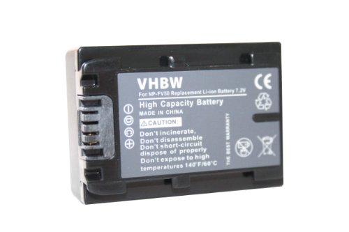 BATERÍA LI-ION para SONY DCR-DVD450E, HDR-CX500E, DCR-DVD810E etc. sustituye NP-FV30 / NP-FV40 / NP-FV50 con Infochip y indicador de carga restante