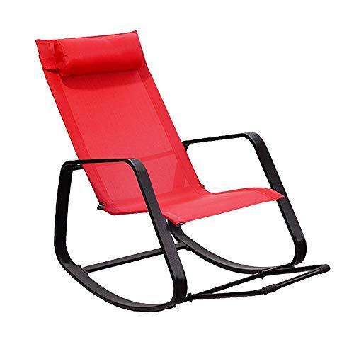 Bseack Rocking Chair, Shake The Nature Design Ergonomique Appuie-Tête Amovible Balcon Jardin Paresseux Loisir/Déjeuner Chaise (Couleur : B)