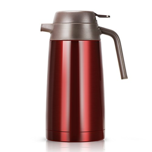 FORTUNE DRAGON Doppelwandige vakuum-isolierte Kaffeekanne mit Druckknopf, hält 24 Stunden warm oder kalt für Kaffee, Tee, Erfrischungsgetränke etc. (Isolierte Doppelt Thermoskanne)