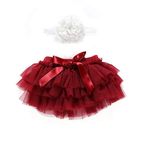 (Puseky Baby Mädchen Rüschen Tutu Rock Kleid Höschen Blume Stirnband Outfits Set Fotografie Prop Kostüm (Color : Wine Red, Size : 0-6M))