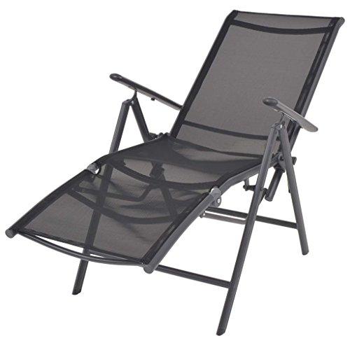 Festnight sedia a sdraio pieghevole regolabile portatile con poggiapiedi in textilene nera 58,5x69x110 cm da balcone/giaridno/patio per esterno