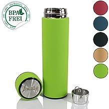 Amazy Termo Colador de Acero Inoxidable / Práctico termo con colador para que disfrute siempre de su café o té / Verde