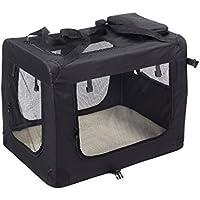 KExing Para Perros Plegable Capazos Transportbox Caja de Viaje Gatos Canino Coche Caja Tela Oxford Negro L