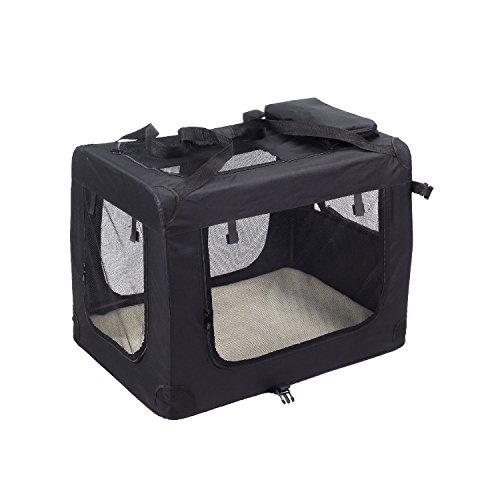 KExing Hundebox Transportbox Faltbare Reisebox Katzen Hunde Auto Box Oxford Gewebe Schwarz M