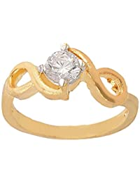 SKN Silver And Golden American Diamond Solitaire Party Alloy Ring For Women & Girls (SKN-3403)