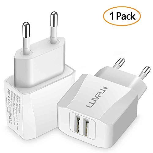 Luvfun Chargeur Secteur USB, 2-Port (5V/2.1A) Chargeur Adaptateur Chargeur Mural USB Universel avec pour iPhone, iPad, Samsung, Nexus, Nokia, Huawei, Tablet Blanc [Lot de 1]