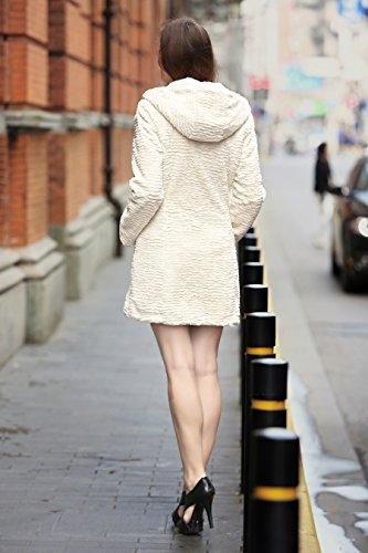Adelaqueen Damen Wintermantel im luxuriösen persischen Lammfell Fantastischer Kunstfell Mantel Beige