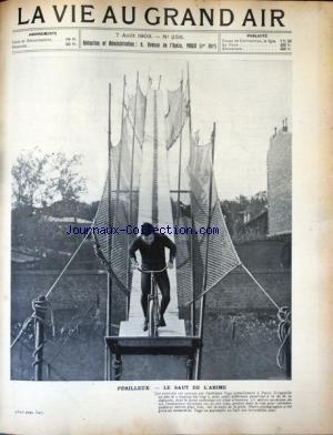 VIE AU GRAND AIR (LA) [No 256] du 07/08/1903 - PERILLEUX / LE SAUT DE L'ABIME PAR L'ACROATE YAGS - LE VAINQUEUR DE MARATHON CIBOT DANS LA COTE DE PICARDIE