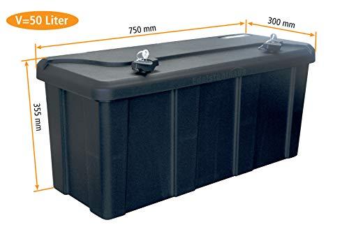 *Blackit L – 750 x 300 x 355 mm, Deichselbox mit 2 Schlösser, Werkzeugkasten für Anhänger Staukiste 50 ltr Anhängerbox, Daken B50-2*