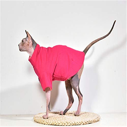 T-Shirt in Maglia di Cotone A Mano Sfinge Gilet Gilet Cat Maglione, T-Shirt Estiva - La Cosa Migliore per Il Gatto Senza Peli M