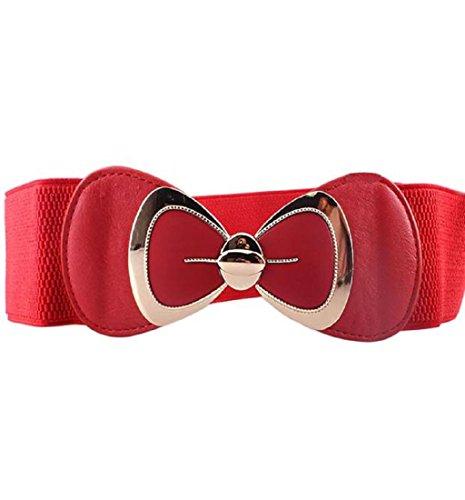 Gucci Canvas-gürtel (Bund, Rcool Lady Fashion Bowknot Schnalle breite elastische Stretch Gürtel (Rot))