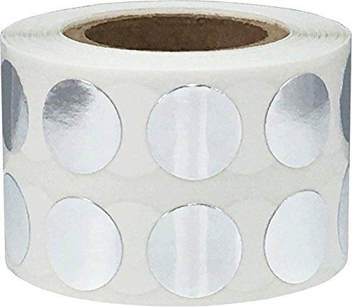 Glänzend Silber Kreis Punkt Aufkleber, 13 mm 1/2 Zoll Runde, 1000 Etiketten auf einer Rolle