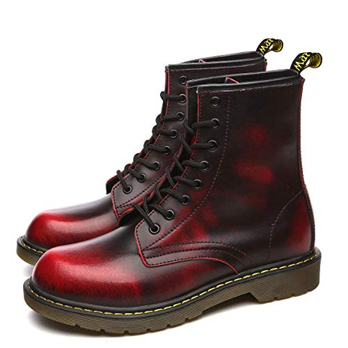 Orktree Unisex-Erwachsene Chelsea Boots Damen Stiefel Wasserdicht Kurz Stiefeletten Schuhe Herren Combat Worker Boots,Rot,47 EU -