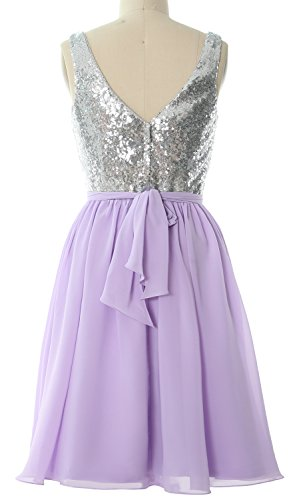 MACloth Women Straps V Neck Sequin Short Bridesmaid Dress 2017 Formal Party Gown purple