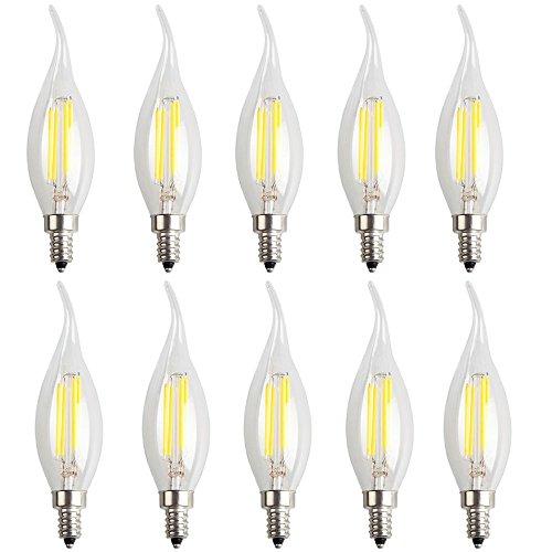 10X E14 Filament LED 4W Lampe à Filament Ampoule Edison Vintage C35 LED Edison Blanc Froid 6000K Haute Illumination 400LM Flame Tip Candle Lampe LED AC220-240V