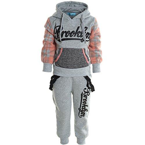 Kinder Jogging Sport Anzug Jungen Mädchen Hoodie Kapuzen Pullover Hose 20779, Farbe:Grau;Größe:104